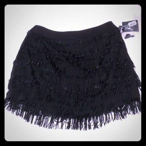 NWT Nanette Lepore Beaded Fringe Mini Skirt